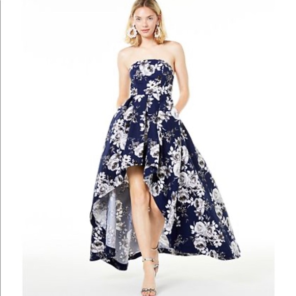 Dresses | Strapless Highlow Gown Blue
